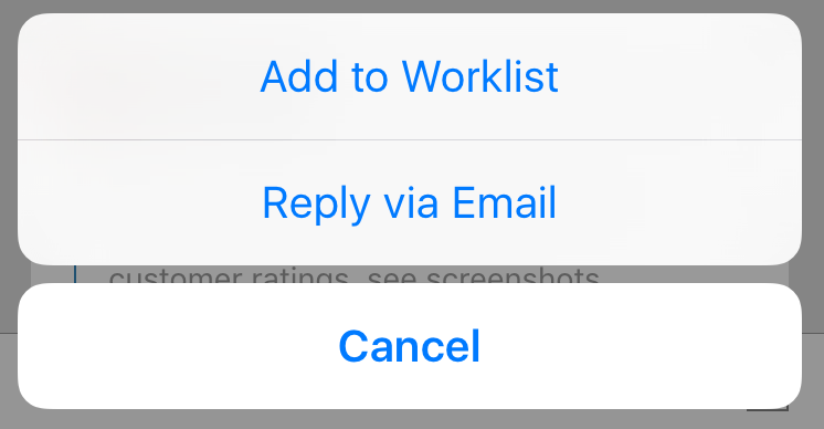 iOS context menu