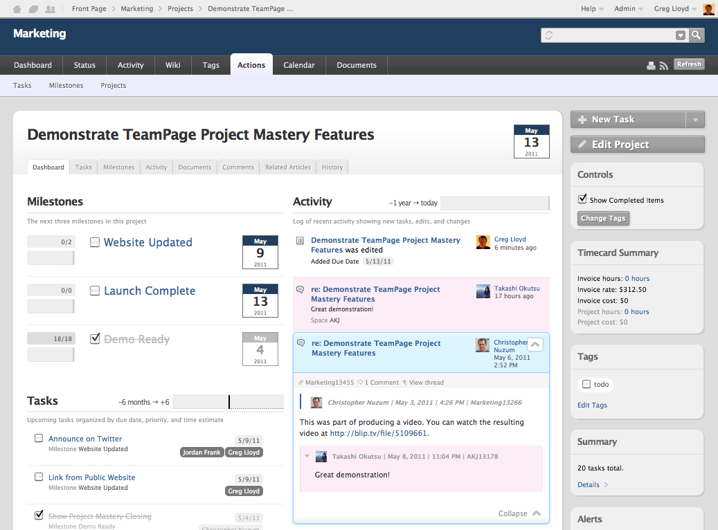 Action Tracking And Project Management Traction Software