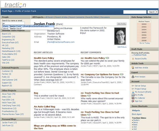 Personal Profile Pages Traction Software